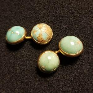 Genuine Turquoise Cabochon Cufflinks